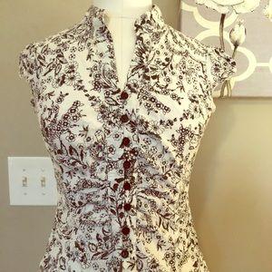 Print button down blouse.